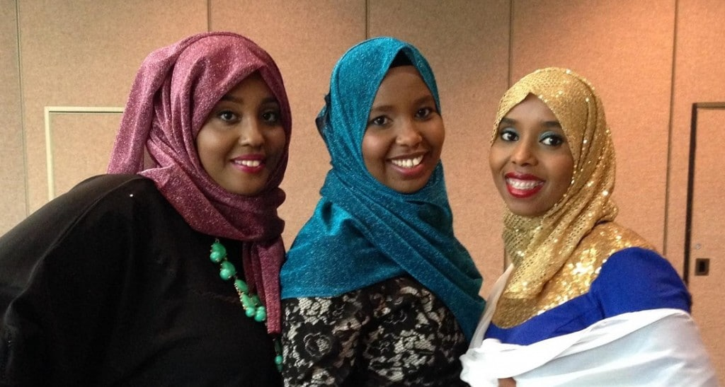 Ashraf, Fartun and Ladan Shair, former Somali refugees, now American citizens, who were assisted by St. Malachi 17 years ago